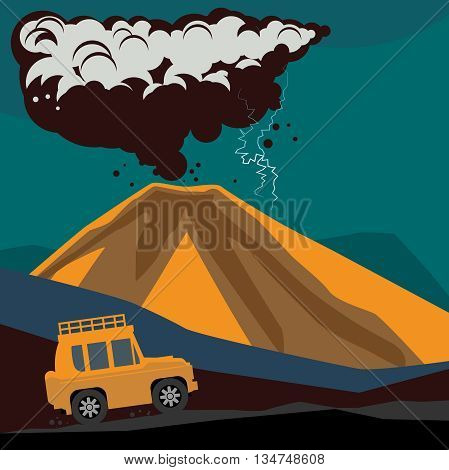 Off-road vehicle mountain adventure background, vector illustration