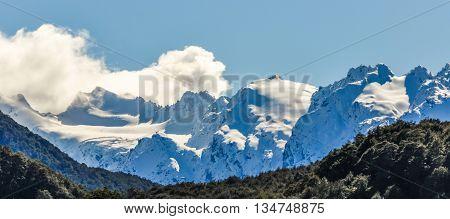 Snowy Peaks In Glenorchy, New Zealand