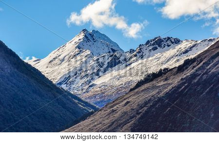 Snowy Mountains In Glenorchy, New Zealand