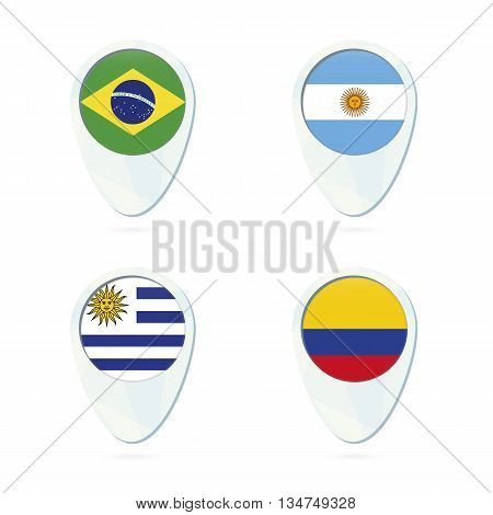 Brazil, Argentina, Uruguay, Colombia Flag Location Map Pin Icon.
