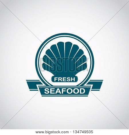 monochrome seafood icon with scallop