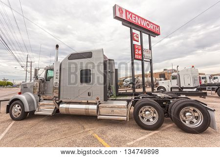 DALLAS USA - APR 9: Classic Kenworth Icon 900 semitrailer truck at the dealership. April 9 2016 in Dallas Texas United States