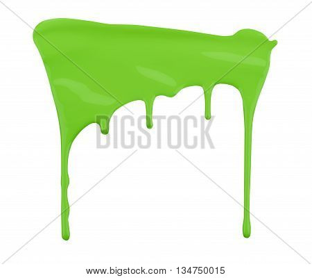 green paint dripping isolated on white background