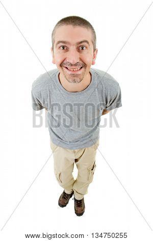 silly casual man full body in a white background