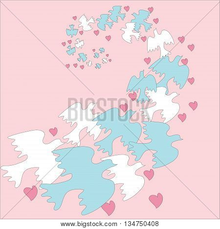 Flock Doves With Hearts On  Pink Background