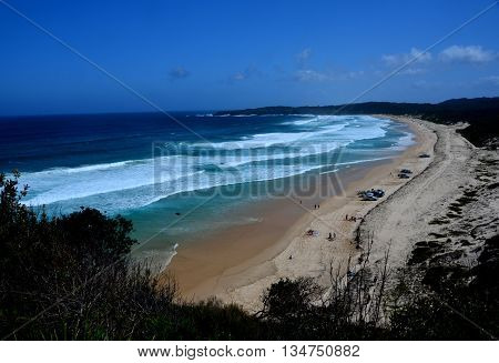 Long 4WD beach at Seal Rocks from Sugarloaf Points (Australia)