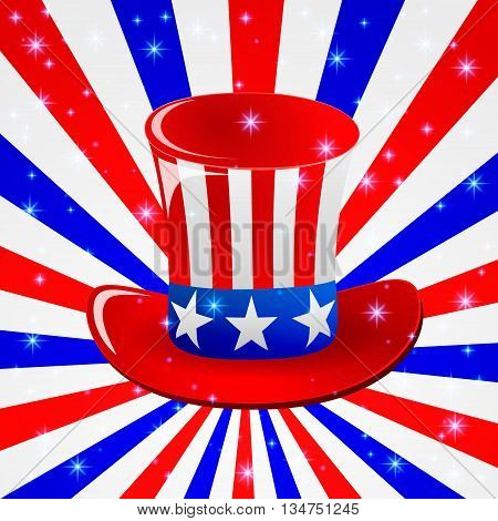 Patriotic Uncle Sam hat for 4th of July public holiday card greetings in vector format. Cartoon or doodle style. American stars and stripes backgrounf in american national colours