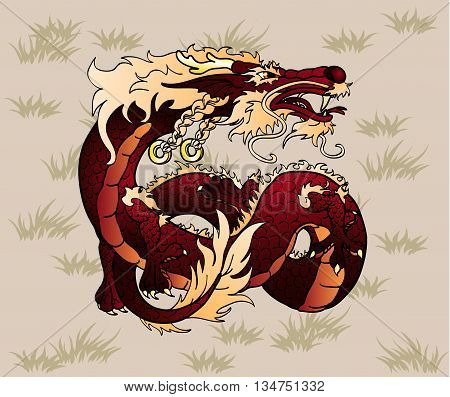 Artful brown earth Asian Chinese dragon against a brown grass