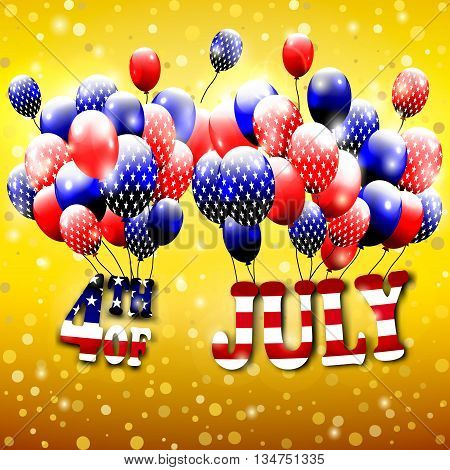 Happy 4th of July design. Gold background, baloons with stars, striped text. American independence day greetings. For invintation, party, bbq. vector.