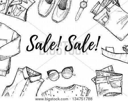 Hand drawn vector illustration - Summer sale. Set of fashion accessories. Isolated elements on white background