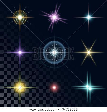 Set of the realistic beautiful multicolored star fires and flashes on a transparent background a vector illustration. Blue, red, yellow, pink, violet stars.