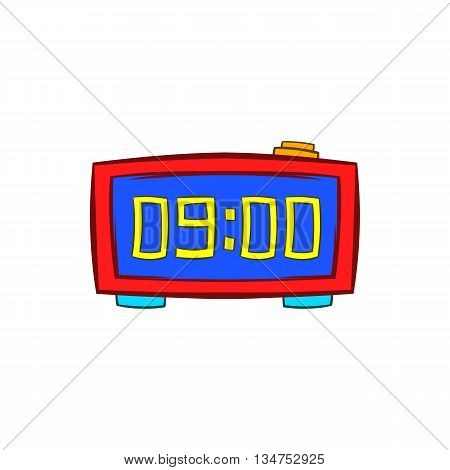 Digital table clock showing 10 25 icon in cartoon style on a white background
