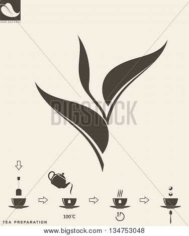 Tea preparation.  Instruction. Abstract leaf  (EPS 10)