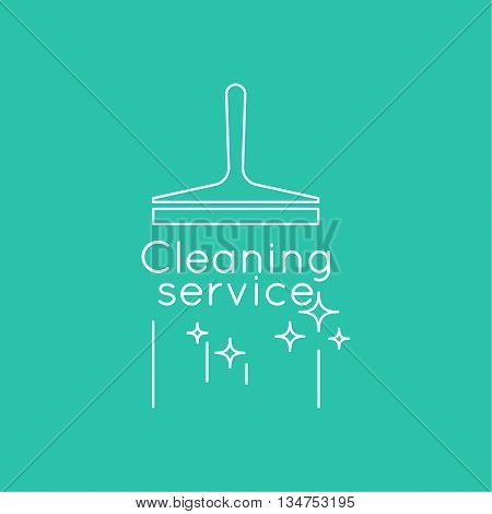 Abstract background with vector icon scraper for windows. Linear icon. Thin line. The concept of home cleaning and cleanliness. The symbol of house cleaning. cleaning service.