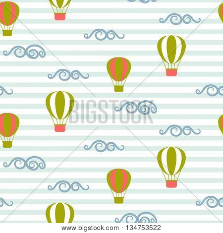 Hot air balloons seamless vector pattern. Blue and green air balloons in the sky on stripe background. Minimalist style textile fabric retro transportation boy kid ornament.
