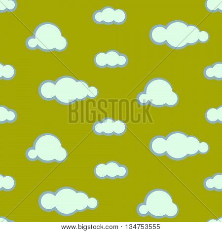 Night sky clouds seamless kid vector pattern. Blue and green boy background. Minimalist style textile fabric cartoon nature aerial ornament.