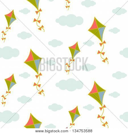 Kite in sky seamless vector pattern. Blue and green kite in the grey clouds on white background. Minimalist style textile fabric boy child ornament.