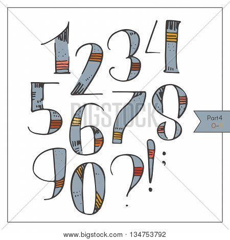 Hand drawn funky numbers decorated and colored for lettering or design. Red and yellow strokes on blue hatched and dotted decoration. Isolated on white set of digits sequence from 1 to 9