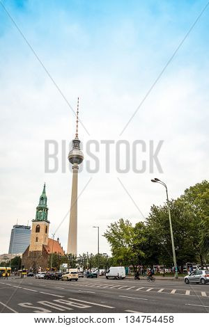 BERLIN, GERMANY- May 16: Tv tower or Fersehturm in Berlin on May 16, 2016. BERLIN, Germany.