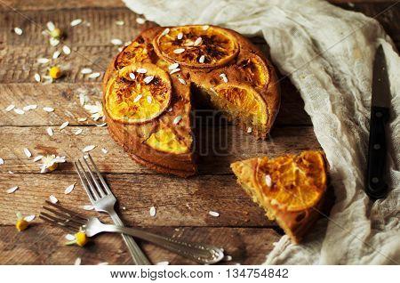 Delicious Fresh Homemade Pie With Orange Zest, Milk, Butter, Egg