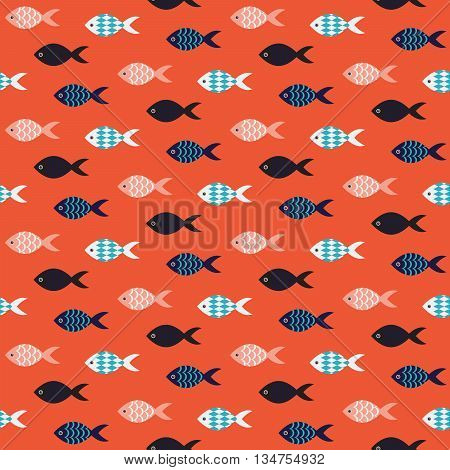 Vector fish seamless pattern. School of fish in rows on coral red sea pattern. Summer marine theme for cards and textile.