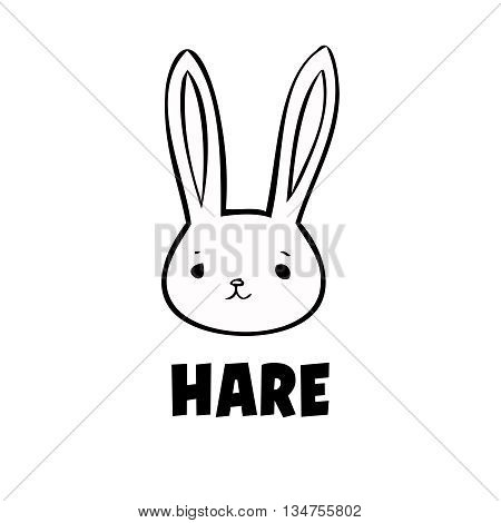 Vector black hare icon little rabbit logo on white background. Cute anime hare. Ears head animal.