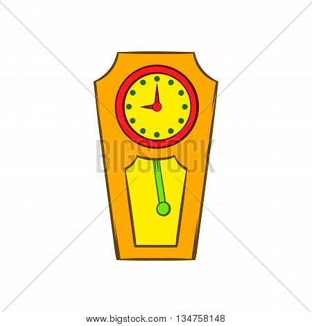 Yellow grandfather clock icon in cartoon style on a white background