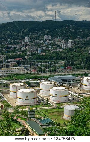 Tuapse, Russia - May 10, 2008:Oil storage area with white tanks on Black sea coast