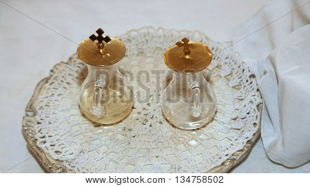 Glass Cruets For The Blessing Of The Wine