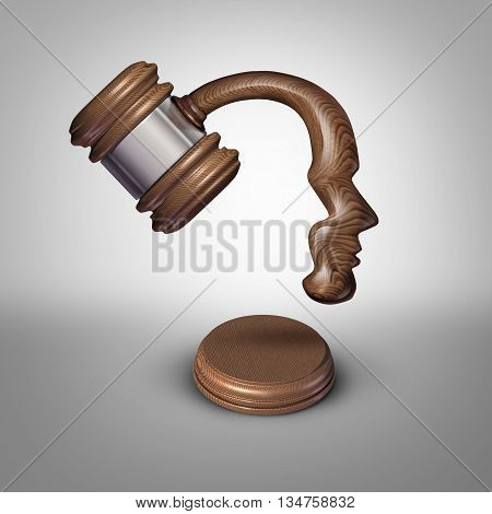 Legal mind law thinking concept and judgement symbol as a judgement mallet or gavel made shaped as a human head as a metaphor for strategies in legislation or intelligent legal opinions and judge or lawyer ideas as a 3D illustration.