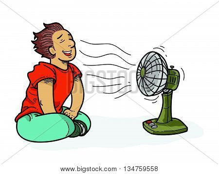 Illustration of man cooling off in front of a fan