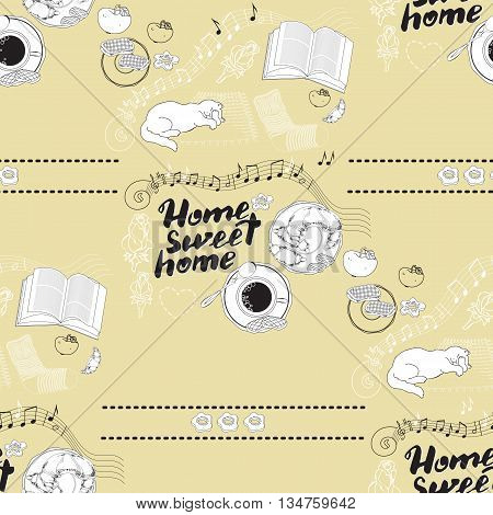 Seamless pattern with hand drawn lettering. Calligraphic quote Home sweet home on light background with socks, book, cat, cookies, croissant, coffee, notes, apple.