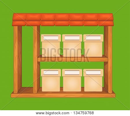 Game wooden store window  with tile roof and shelf