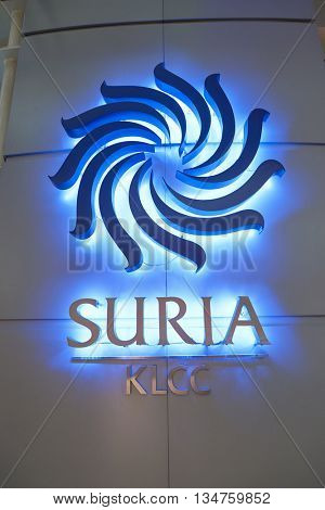 KUALA LUMPUR, MALAYSIA - MAY 09, 2016: close up shot of Suria KLCC logo. Suria KLCC is located in the Kuala Lumpur City Centre district. It is in the vicinity of the landmark the Petronas Towers.