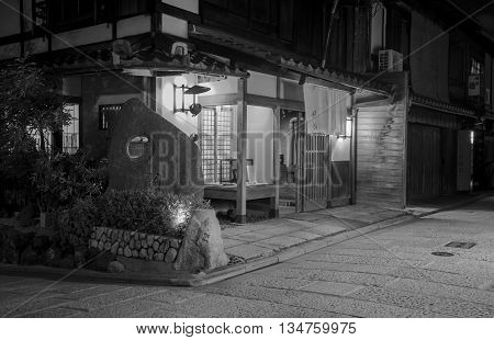 Kyoto Japan - October 25: A traditional old Japanese house in Gion. Gion is Kyoto's famous geisha district.