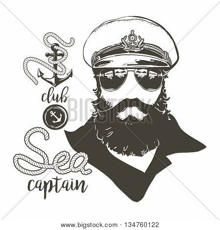 Portrait of captain. Beard, forage cap, sunglasses, anchor rope. Vector illustration Vintage nautical clubs and bars logo and emblems.