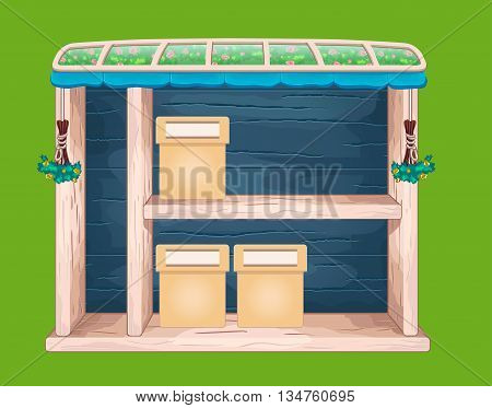 Game wooden store window with glass roof
