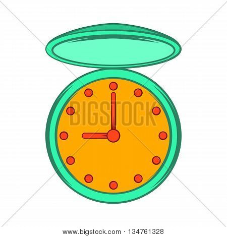 Pocket watch with cover icon in cartoon style on a white background