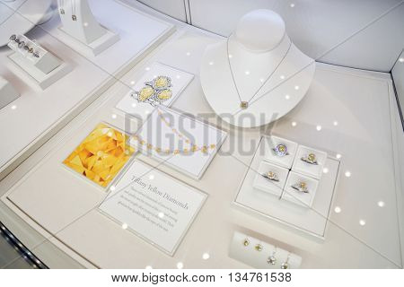 KUALA LUMPUR, MALAYSIA - MAY 09, 2016: showcase at Tiffany store. Tiffany & Company is an American worldwide luxury jewelry and specialty retailer, headquartered in New York City