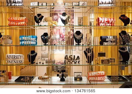KUALA LUMPUR, MALAYSIA - MAY 09, 2016: interior of the store at Suria KLCC. Suria KLCC is located in the Kuala Lumpur City Centre district. It is in the vicinity of the landmark the Petronas Towers.