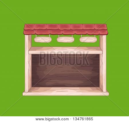 Game wooden store window with tile roof and top menu