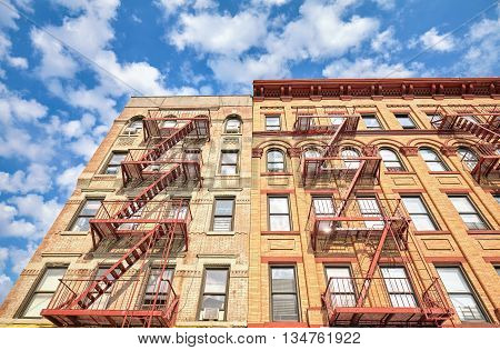 Residential Building With Fire Escape Ladders In Nyc.