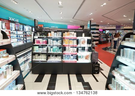 KUALA LUMPUR, MALAYSIA - MAY 09, 2016: Sephora store in Suria KLCC. Suria KLCC is located in the Kuala Lumpur City Centre district. It is in the vicinity of the landmark the Petronas Towers.