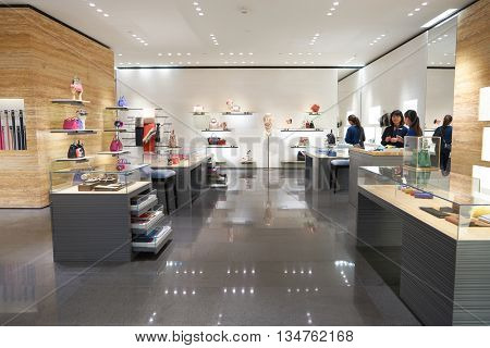 KUALA LUMPUR, MALAYSIA - MAY 09, 2016: Fendi store in Suria KLCC. Suria KLCC is located in the Kuala Lumpur City Centre district. It is in the vicinity of the landmark the Petronas Towers.