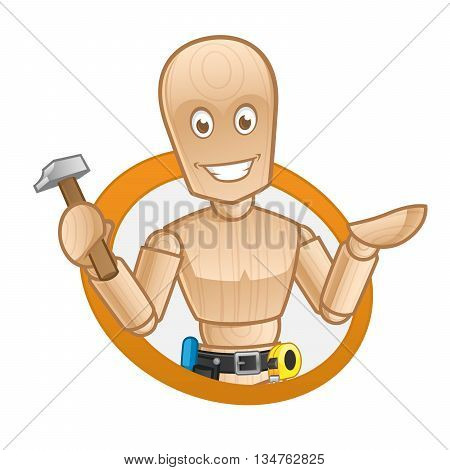 Wooden dummy, he has a hammer in his hand