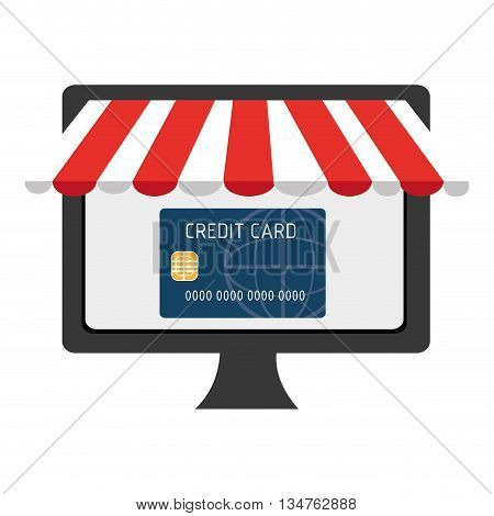 black electronic device screen with blue credit card  icon on the screen over isolated background, vector illustration, commerce concept