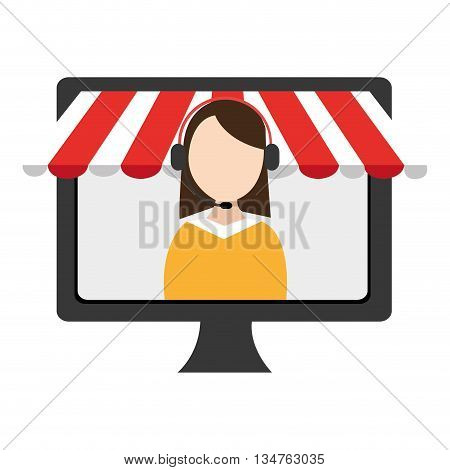 black electronic device screen with avatar woman icon on the screen over isolated background, vector illustration, commerce concept