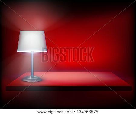Standing lamp on the shelf. Vector illustration.