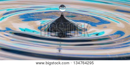 Water drop splash reflecting a turquoise blue background in a rippled effect