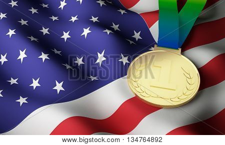 USA flag and gold medal. 3d rendering.